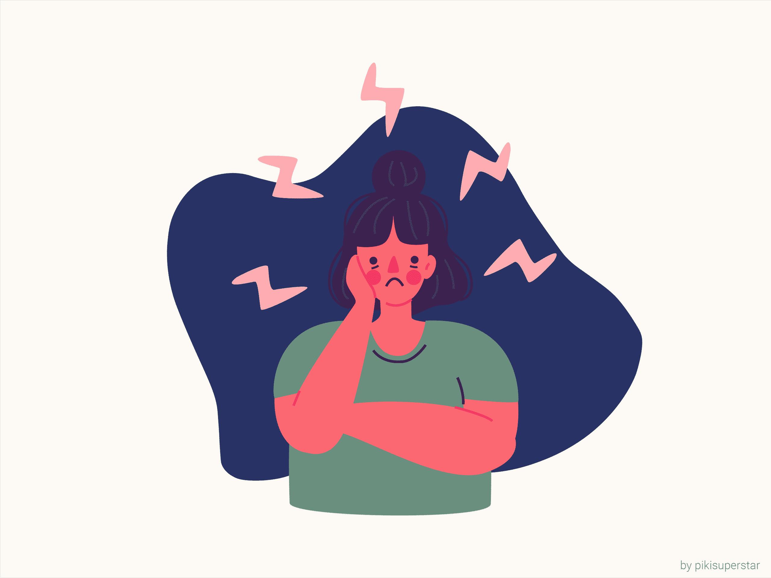 Viser person med stress